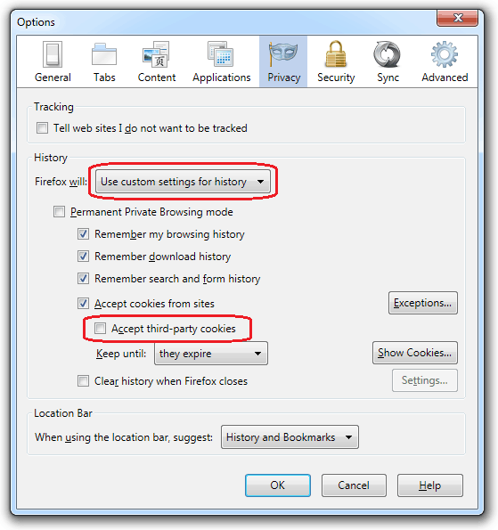 Disabling Third Party Cookies - Fx5 Win