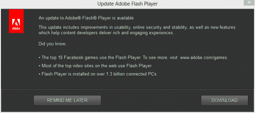 Flash-update-dialog